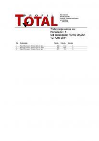 Izveštaj za naručivanje okova za izradu ponude, po falcnim merama